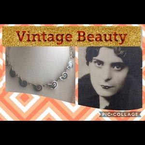 Vintage Taxco 950 Malachite Necklace & Bracelet!